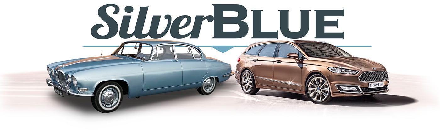 Logo Silverblue - Chauffeur VTC Ford Mondeo à Dinard et location Jaguar de collection avec chauffeur particulier pour mariages